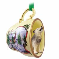 Wolf Timber Tea Cup Snowman Holiday Ornament