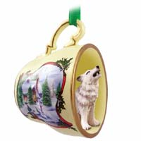 Wolf Gray Tea Cup Snowman Holiday Ornament