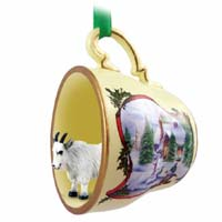 Mountain Goat Tea Cup Snowman Holiday Ornament