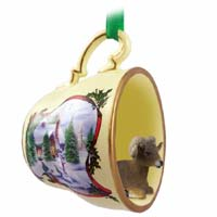 Big Horn Sheep Tea Cup Snowman Holiday Ornament