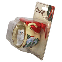 Ornament Snowman Tea Cup Cats