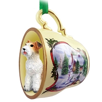 Wire Fox Terrier Red Tea Cup Snowman Holiday Ornament