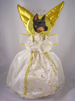 Doberman Pinscher Black w/Cropped Ears Doogie Collection Angel Tree Topper