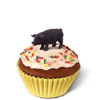 Pig Black Cupcake Trinket Box