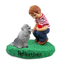 Poodle Gray Reflections w/Boy Figurine