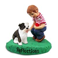 Bulldog Brindle Reflections w/Boy Figurine