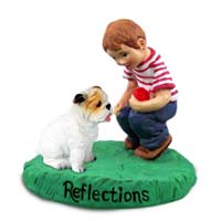 Bulldog White Reflections w/Boy Figurine