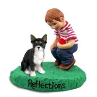 Chihuahua Black & White Reflections w/Boy Figurine