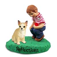 Chihuahua Tan & White Reflections w/Boy Figurine