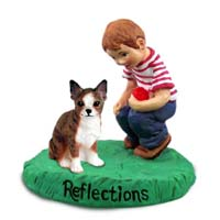 Chihuahua Brindle & White Reflections w/Boy Figurine
