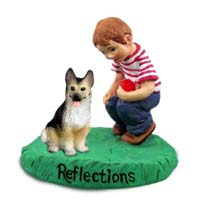 German Shepherd Tan & Black Reflections w/Boy Figurine