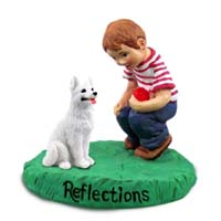 German Shepherd White Reflections w/Boy Figurine