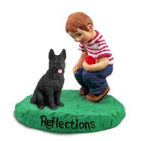 German Shepherd Black Reflections w/Boy Figurine