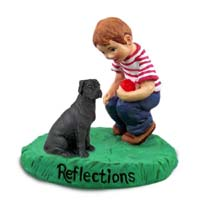 Great Dane Black w/Uncropped Ears Reflections w/Boy Figurine