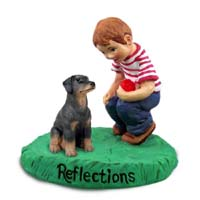 Doberman Pinscher Black w/Uncropped Ears Reflections w/Boy Figurine