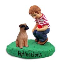 Boxer Tawny w/Uncropped Ears Reflections w/Boy Figurine