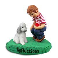 Poodle Gray w/Sport Cut Reflections w/Boy Figurine