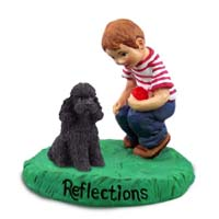 Poodle Black w/Sport Cut Reflections w/Boy Figurine