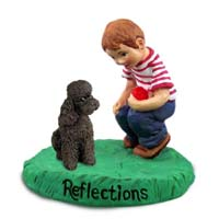 Poodle Chocolate w/Sport Cut Reflections w/Boy Figurine