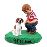 Pointer Brown & White Reflections w/Boy Figurine