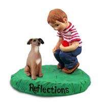 Italian Greyhound Reflections w/Boy Figurine