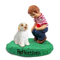 Clumber Spaniel Reflections w/Boy Figurine