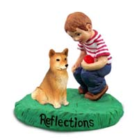 Finnish Spitz Reflections w/Boy Figurine