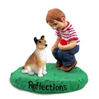 Collie Smooth Hair Reflections w/Boy Figurine