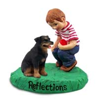 Rottweiler Reflections w/Boy Figurine