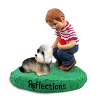 Dandie Dinmont Reflections w/Boy Figurine