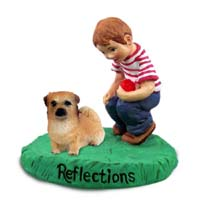Tibetan Spaniel Reflections w/Boy Figurine