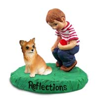 Chihuahua Longhaired Reflections w/Boy Figurine