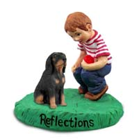 Coonhound Black & Tan Reflections w/Boy Figurine