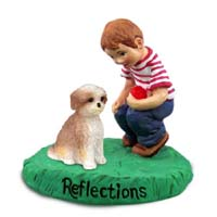Shih Tzu Tan w/Sport Cut Reflections w/Boy Figurine