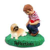 Lhasa Apso Brown w/Sport Cut Reflections w/Boy Figurine