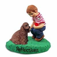 Cocker Spaniel Brown Reflections w/Boy Figurine