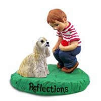 Cocker Spaniel Blonde Reflections w/Boy Figurine