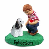 Cocker Spaniel Brown & White Reflections w/Boy Figurine