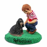 Cocker Spaniel Black & Tan Reflections w/Boy Figurine