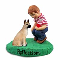 Great Dane Fawn Reflections w/Boy Figurine