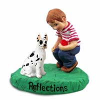 Great Dane Harlequin Reflections w/Boy Figurine