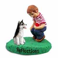 Husky Black & White w/Brown Eyes Reflections w/Boy Figurine