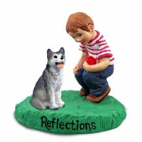 Husky Gray & White w/Brown Eyes Reflections w/Boy Figurine