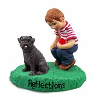 Pug Black Reflections w/Boy Figurine