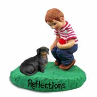 Dachshund Black Reflections w/Boy Figurine