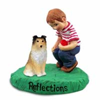 Sheltie Sable Reflections w/Boy Figurine