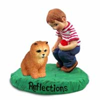 Chow Red Reflections w/Boy Figurine