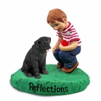 Labrador Retriever Black Reflections w/Boy Figurine