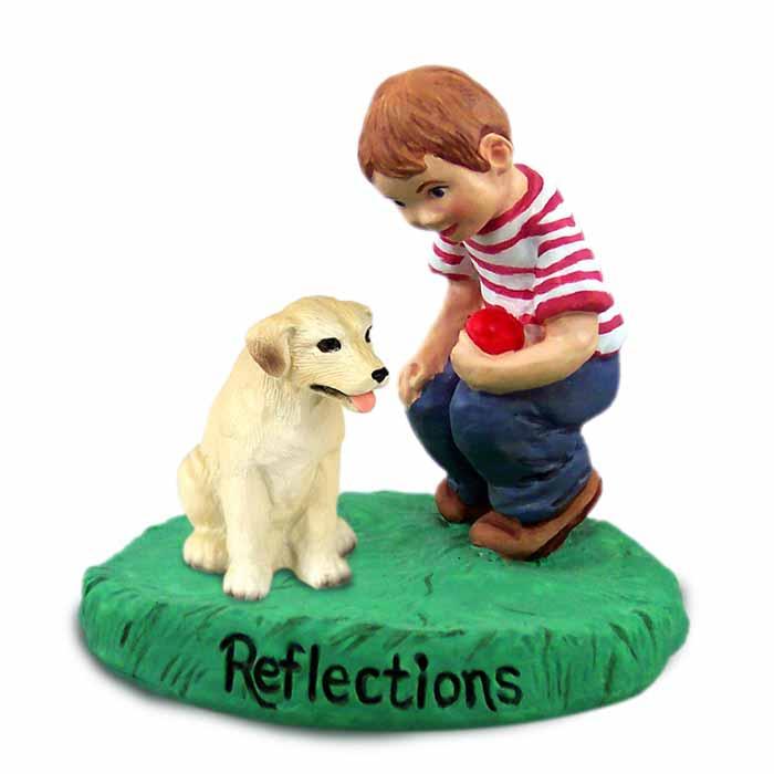 Labrador Retriever Yellow Reflections w/Boy Figurine