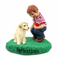Labrador Retriever Yellow Reflections w/Boy Figurine